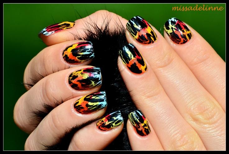 Rainbows Under a Crackle PolishBlack Crackle, Essence Polish, Nails Art, Adelinne Nails, Polish Addict, Hair Nails, Crackle Polish, Beautiful Secret, Beautiful Design
