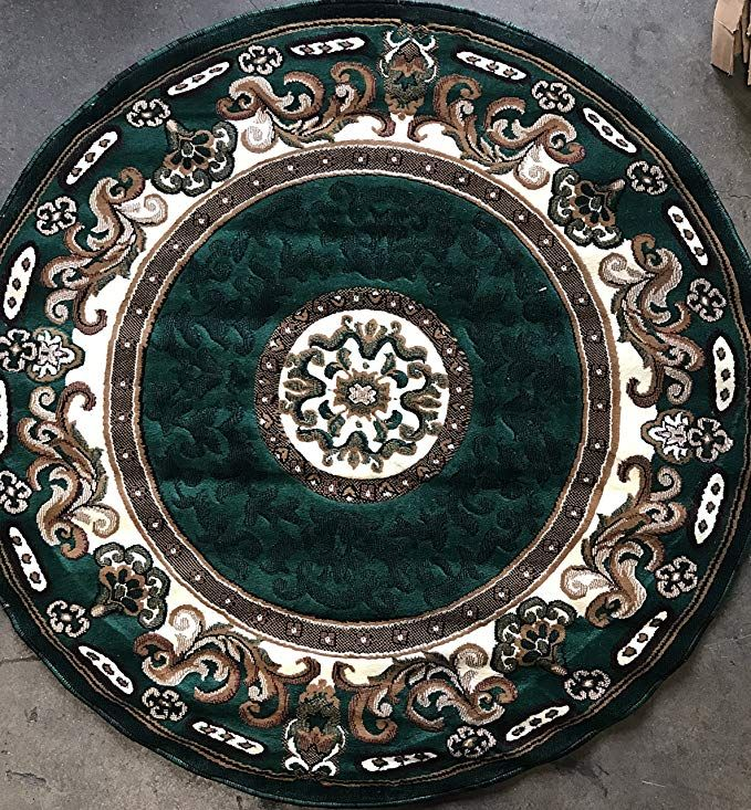 Traditional Round Area Rug Hunter Dark Green Persian Kingdom