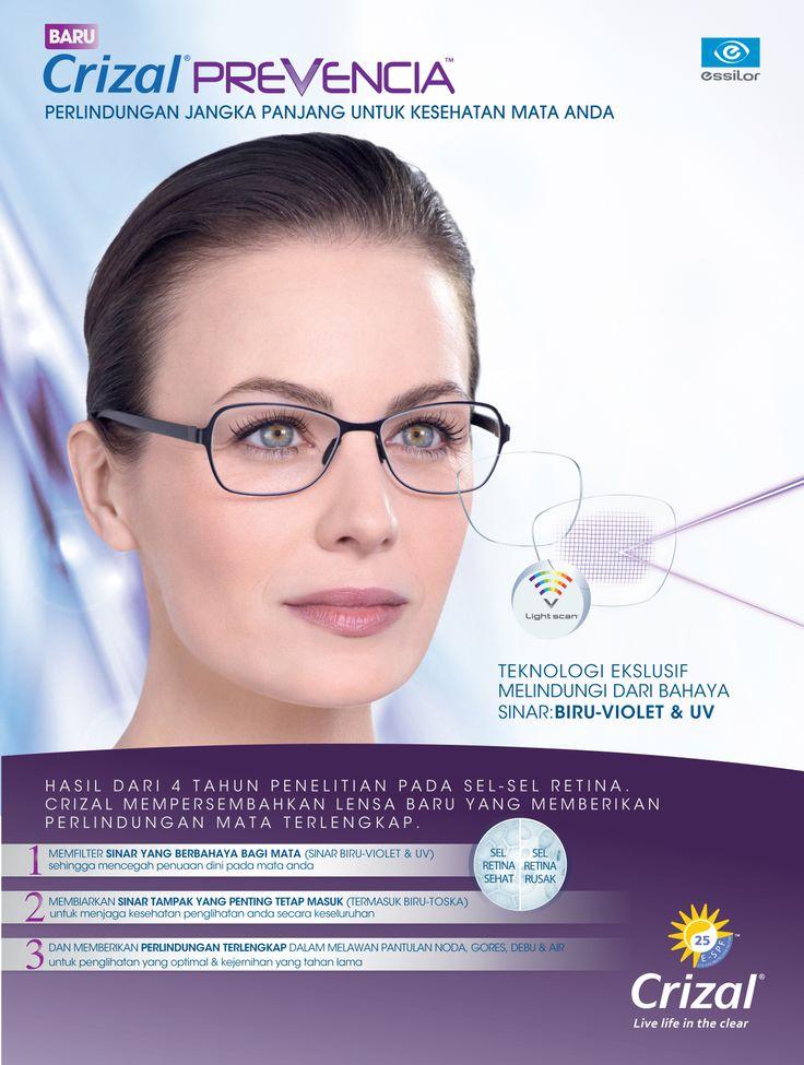 """Baru!!! Crizal Prevencia """"Perlindungan Jangka Panjang untuk Kesehatan Mata Anda""""  Memberi keunggulan jangka panjang dengan memfilter bahaya sinar biru-violet dan mengurangi tingkat kerusakan sel retina sampai 25% dan 25x lebih baik dalam memberikan perlindungan terhadap UV"""