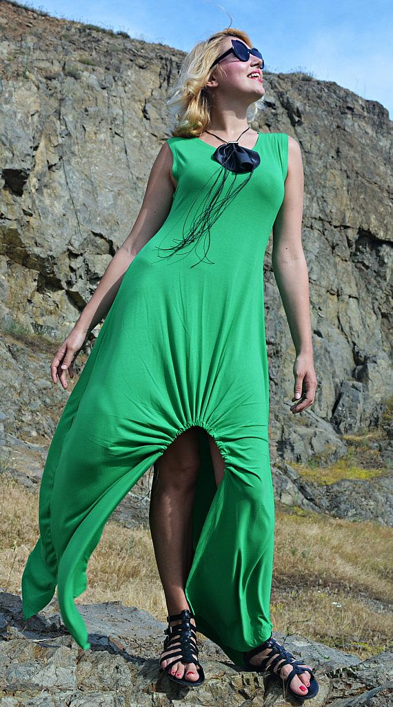 Green Maxi Dress TDK263, Summer Maxi Dress, Long Maxi Dress, Cropped Summer Dress, WILDFLOWER
