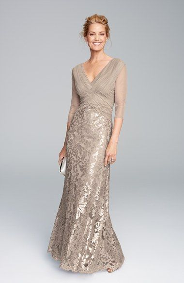 Neutral lace gown with sleeves for Mother of the Bride