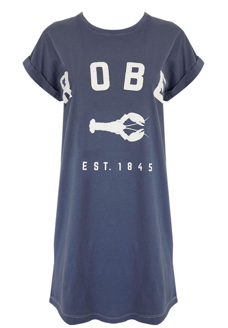 Binny - Long Beach Lobster T-Shirt Dress In Blue
