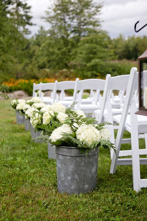 Love these pails placed by the ceremony seating #wedding #rustic #barn