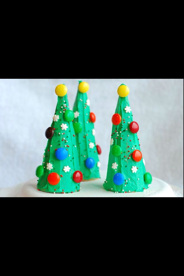 Edible Christmas Craft For Kids Ice Cream Cone Trees