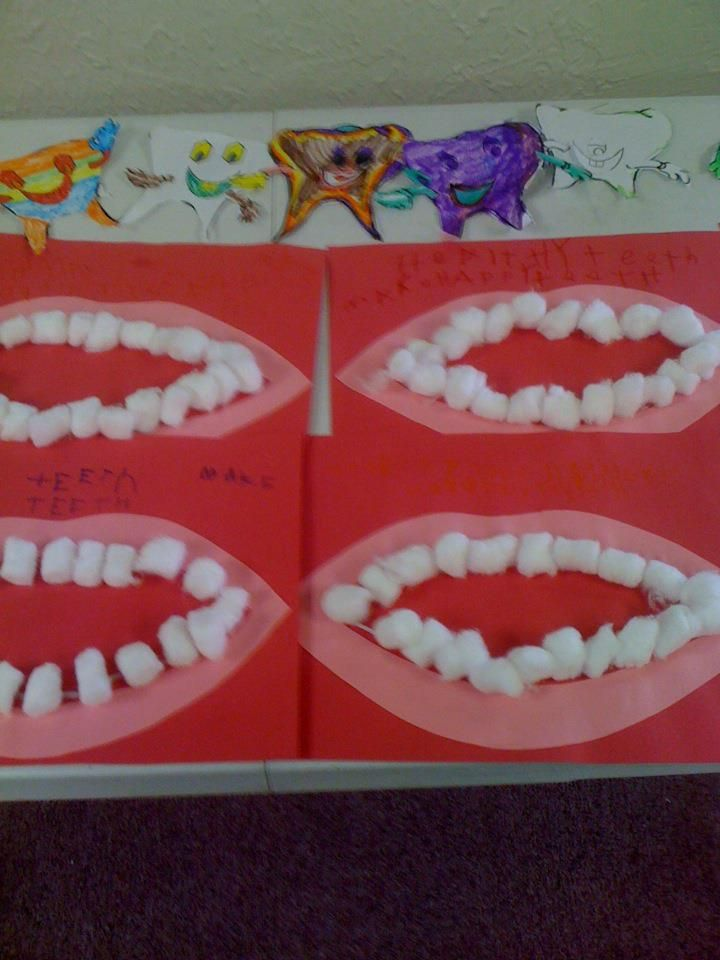 During Hygiene week my class made these Healthy Teeth Crafts made out of construction paper mouths and cotton balls.