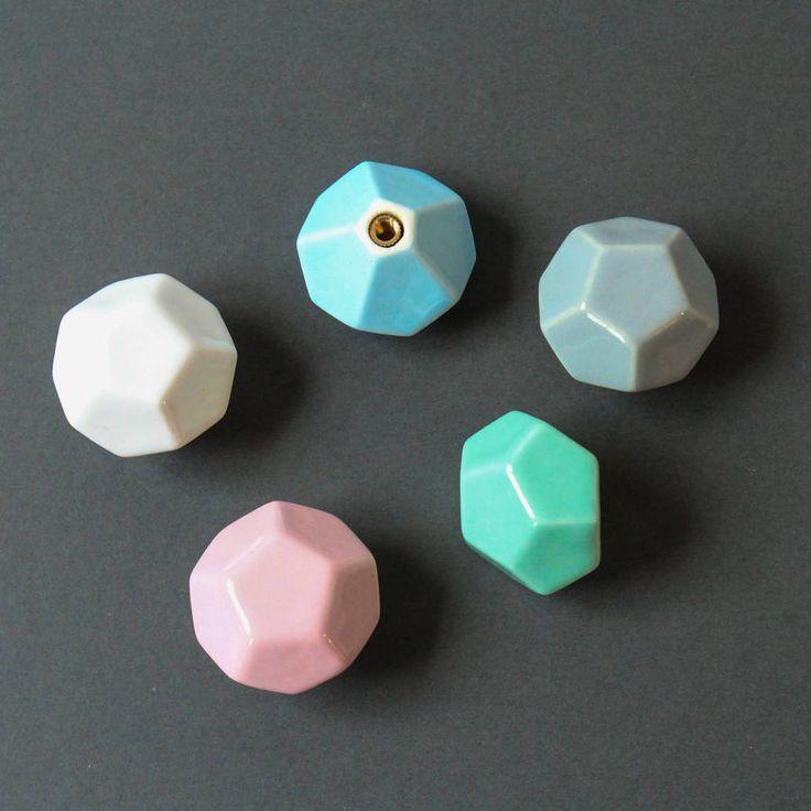 Faceted Geometric Ceramic Knob