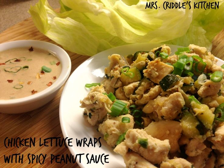 THM (S) Chicken Lettuce Wraps with spicy peanut sauce - can be tweaked to E or FP