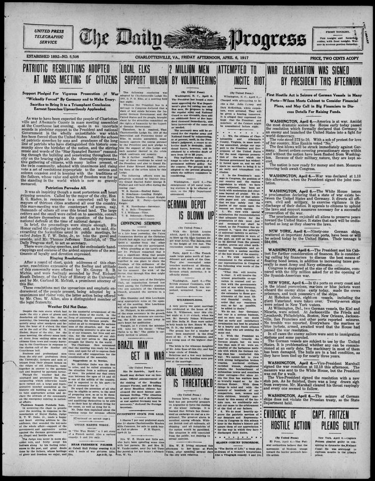 The Daily Progress, April 6, 1917. Albert and Shirley Small Special Collections Library, University of Virginia.