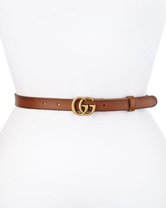 Thin GG Leather Belt, Brown by Gucci at Neiman Marcus.