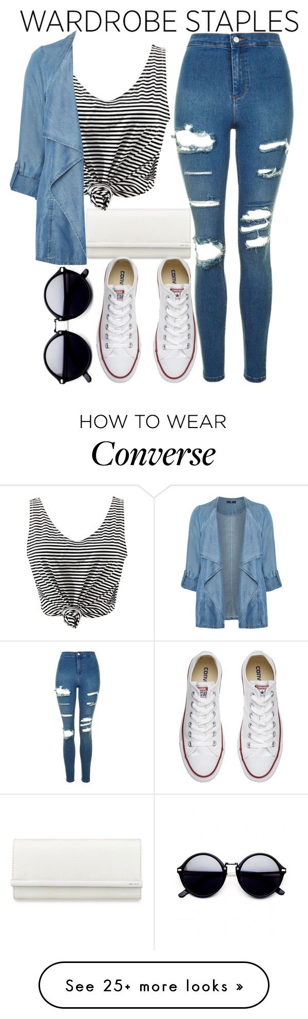"""""""Wardrobe staples"""" by mareehamasood246 on Polyvore featuring Nine West, WithChic, Evans, Converse, Topshop, denimjackets and WardrobeStaples"""