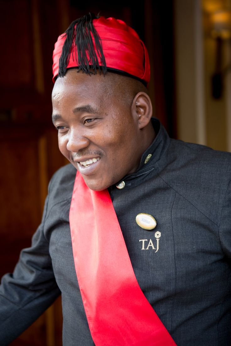 A welcoming smile from the doorman at the luxurious Taj Hotel in Wale Street, Cape Town