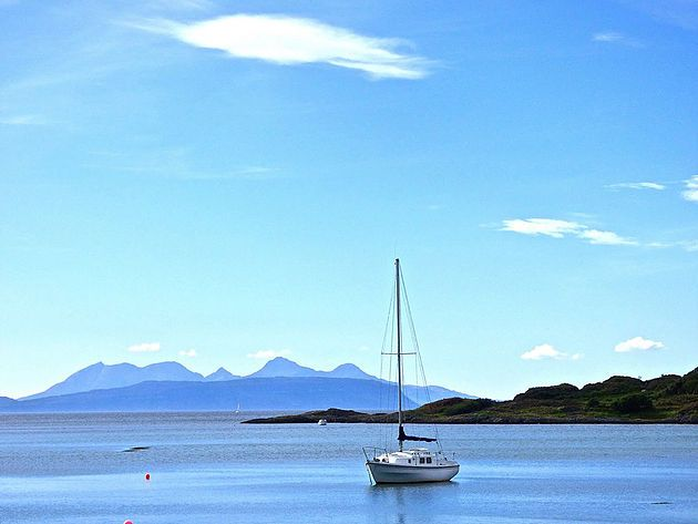 Rum and Eigg (The Small Isles) from Glenuig. Read my blog on Glenuig, Glenfinnan and Arisaig.