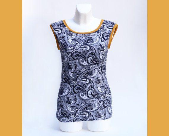 00a521ba46 Top Paisley Muster, Paisley Shirt, Paisley Muster, Sommershirt, Damen Top,  Faire Mode, Jersey Top, Damenbekleidung, blaues shirt