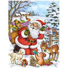 Christmas Santa Forrest Friends 2-Sided Garden Flag