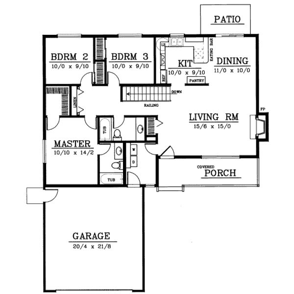 Ranch style house plans 1314 square foot home 1 story for Three bedroom two bath floor plans