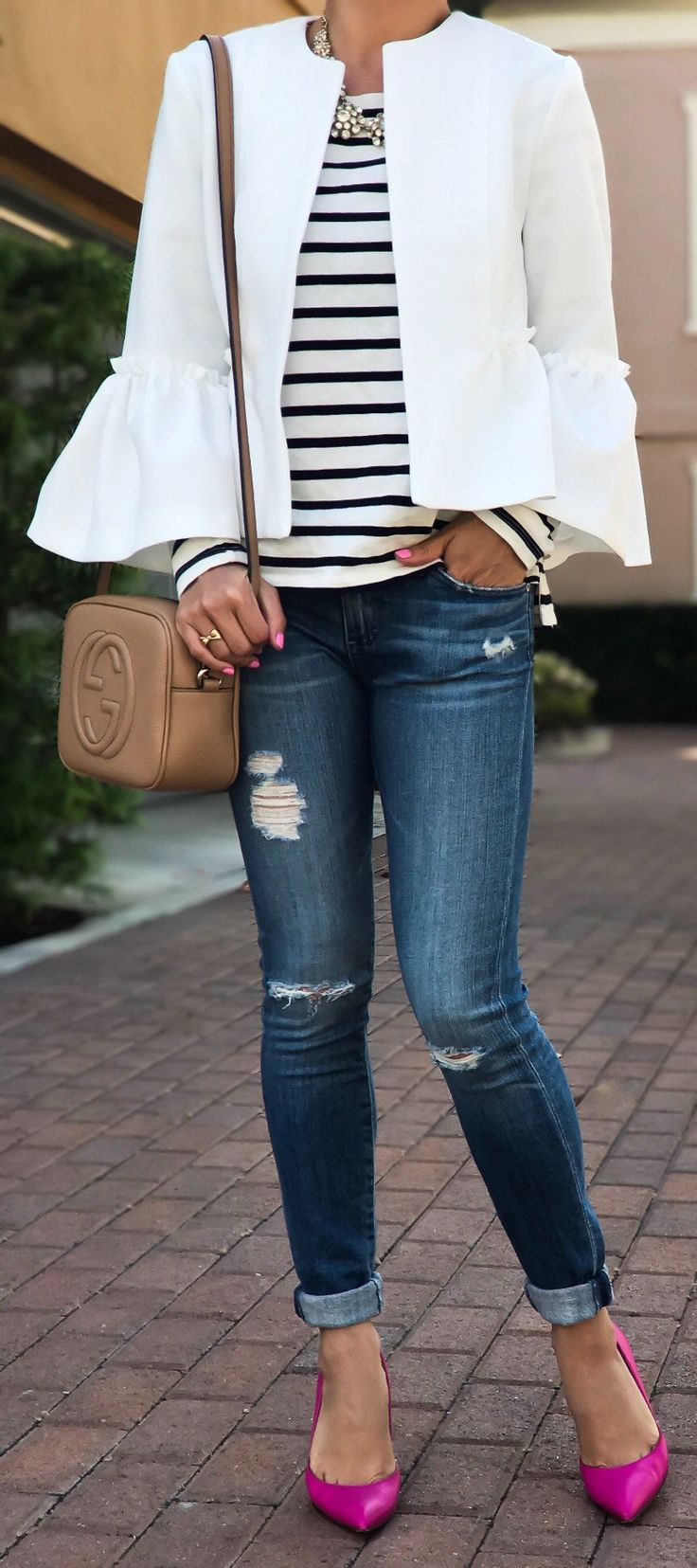 #fashion #outfits  White Jacket & White Striped Top & Ripped Skinny Jeans & Pink Pumps
