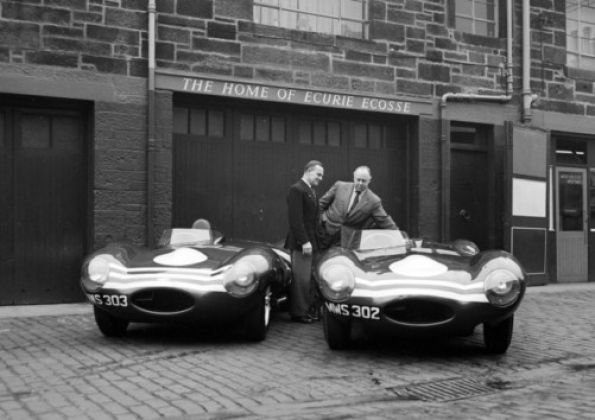 Jaguar vehicles pictured at Ecurie Ecosse garages in Merchiston Mews, some time in 1956. Picture: TSPL