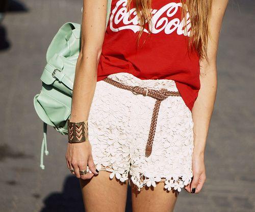 white lace shorts & coka cola shirt (: