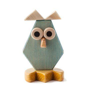 "CREAZIONI MAESTRODASCIA ""Owl"", wooden sculpture, approximately 16 cm (6 inches) high"