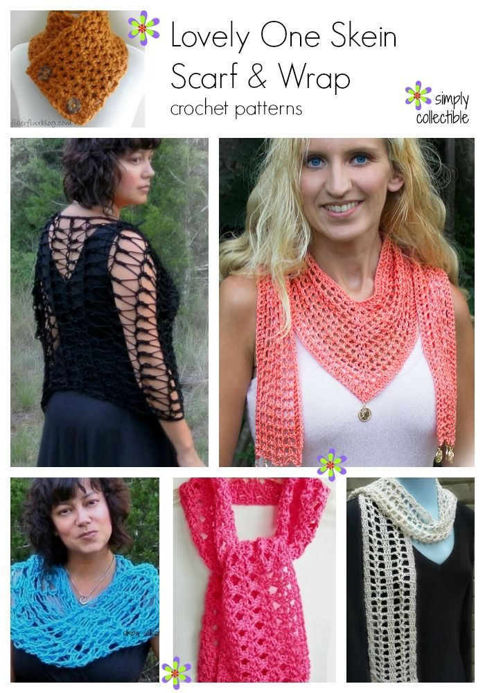 20 FREE and Lovely One Skein Scarf & Wrap crochet patterns on SimplyCollectibleCrochet.com http://simplycollectiblecrochet.com/2017/03/free-and-lovely-one-skein-scarf-wrap-crochet-patterns/