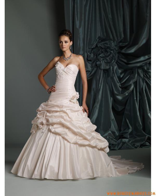 Robe de mariée bustier coeur taffetas jupe remonté