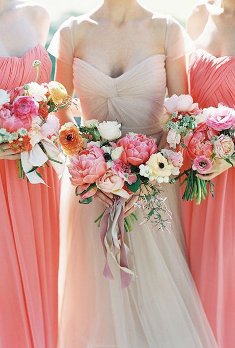 Brides.com: 19 Fresh Peony Bouquet Ideas. Atlanta, Georgia-based florist Amy Osaba proves it's possible to create a non-traditional bouquet using a classic bloom — these asymmetrical-shaped pink peony arrangements look fresh without being too over-the-top.