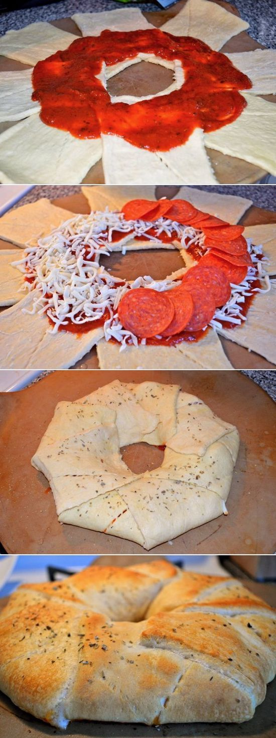 Pizza Ring – If you are having a few guests over and want a quick and easy appetizer, here is the perfect recipe!