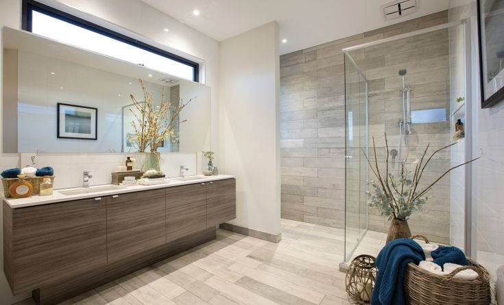 Timber tile installation in the shower recess zone House Design: Drysdale - Porter Davis Homes