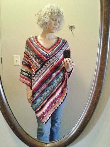 The Molly Poncho By Stacey Daze - Free Crochet Pattern - (ravelry). Great way to use up left over yarn. Can be done in all different weight yarns.