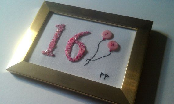 Pink sweet 16 gift, Hand embroidered 16, 16 birthday present £21.50