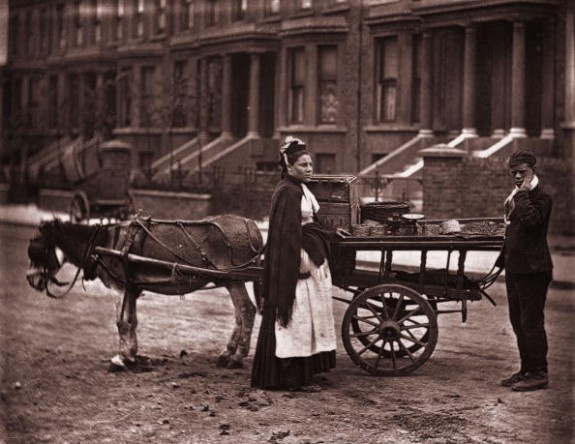 Fruit For Sale  1873:  A Victorian fruit seller shouts out 'strawberries, all ripe, all ripe' in a London street.   Original Publication: From 'Street Life In London' by  John Thomson and Adolphe Smith - pub. 1877  (Photo by John Thomson/Hulton Archive/Getty Images).