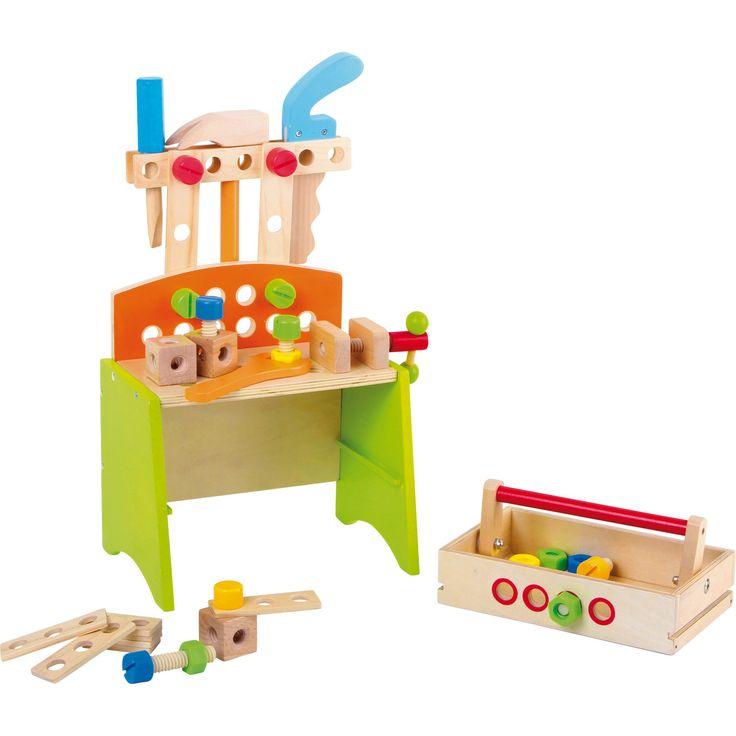 """Banca de lucru multi-funcțională """"Deluxe"""" este de mare folos pentru cei mici! Pot înșuruba, găuri, ciocăni și tăia. Această bancă de lucru este de asemenea echipată cu menghină de lemn, fiind foarte utilă pentru a practica pe ea. #woodentoys #woodentools #montessori #jucariidinlemn #jucariionline #jucariieducative"""