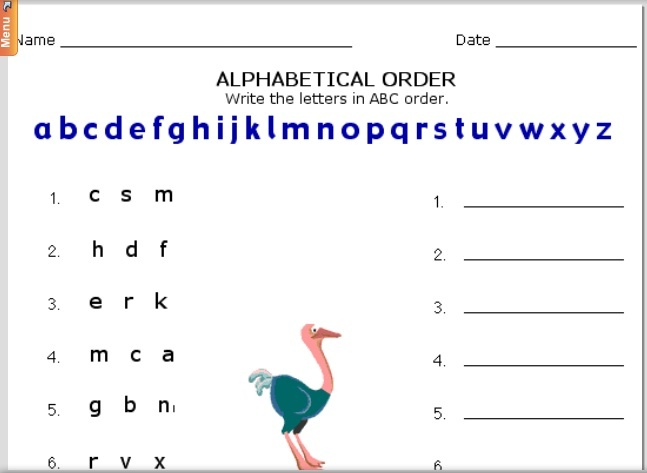 Put The Letters In Alphabetical Order For This Worksheet