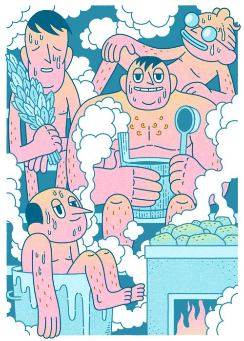 """Sauna"", illustration poster by Mikko Saarainen --------- POSTER LOVE! Just in time for Valentine's Day we added a new bunch of smashing posters to Napa's Print Store! Show some love to your dear ones and spoil them with beautiful posters illustrated by Napa's artists. For example a matt coated quality poster in size of 30 x 40cm for 29€ !! Click to our store to see sizes & prices, and of course the whole stylish collection of posters by the great Napa Talents!"