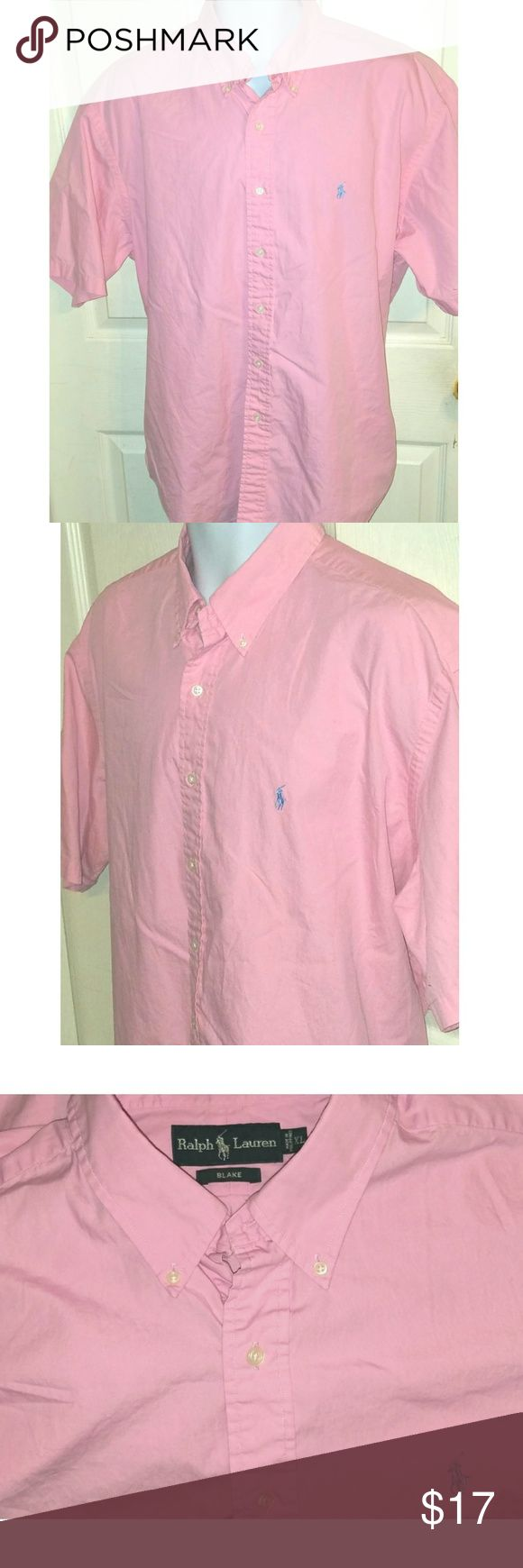 Polo Ralph Lauren Short Sleeve Pink Mens Shirt XL Thia is a mens XL short sleeve pink shirt by Polo Ralph Lauren. The chest measures 28 inches and the length is 34 inches. Polo by Ralph Lauren Shirts Casual Button Down Shirts
