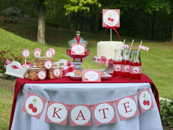 Adorable printable cherry theme labels, invites, cupcake toppers, etc.  $20.00 at Green Apple Paperie on Etsy.