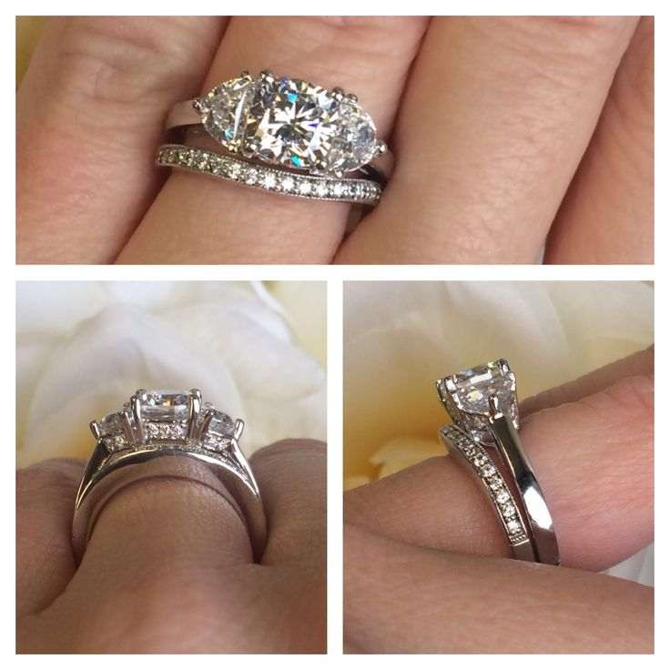 Sandra Three Stone Engagement Ring Paired With Our