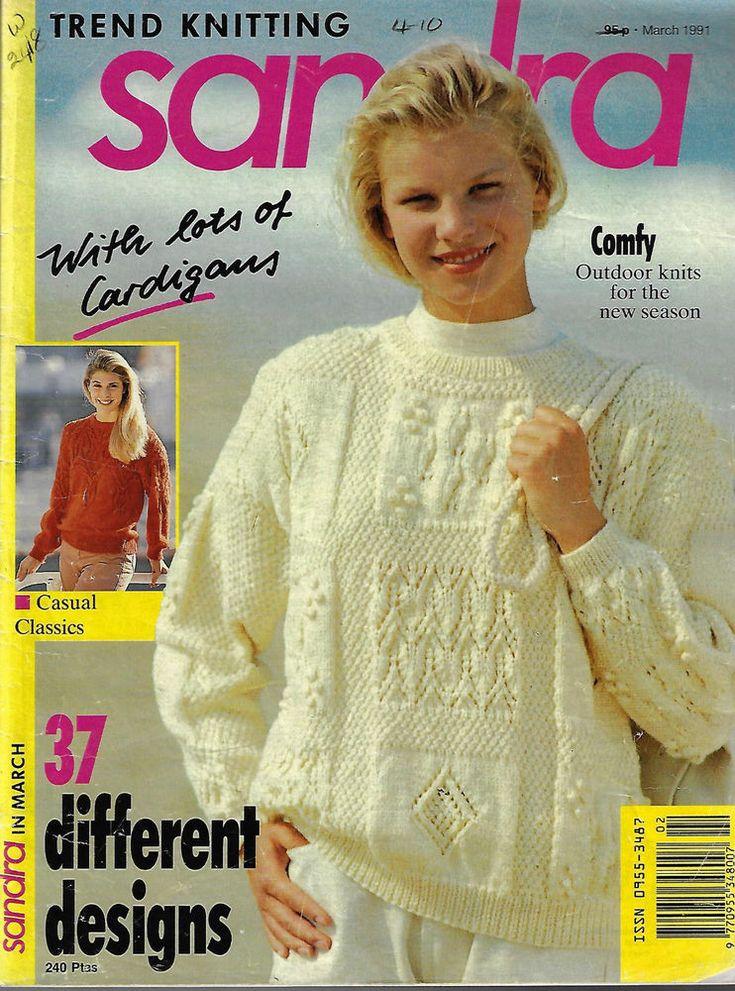 Sandra knitting magazine March 1991 37 designs textured sweaters cardigans dolls #Sandra