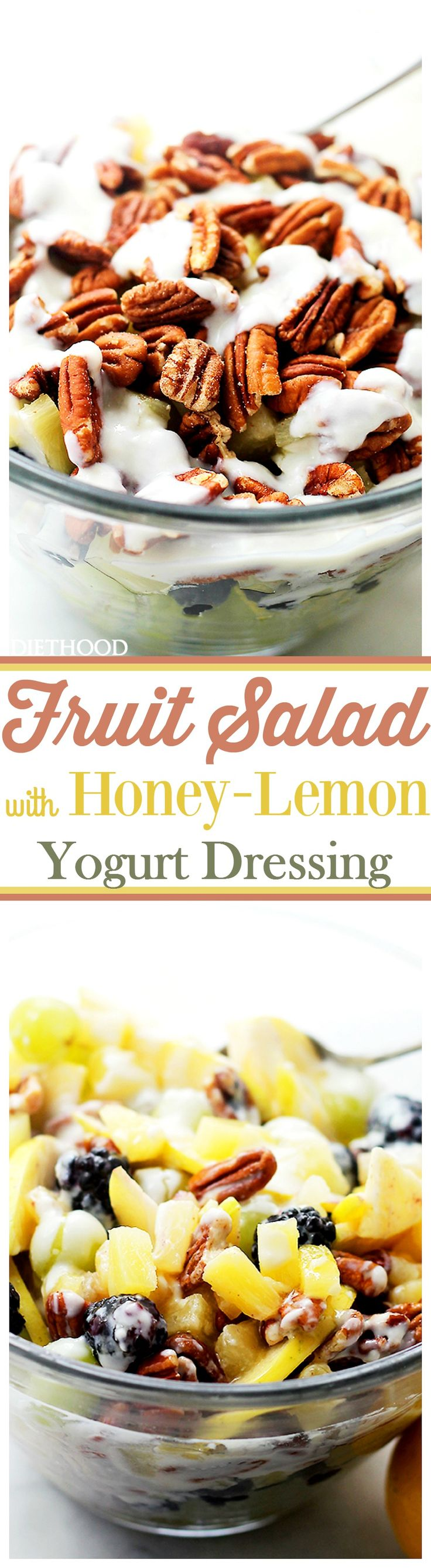 Mixed Fruit Salad with Honey-Lemon Yogurt Dressing - Perfect Summer Fruit Salad with grapes, blackberries, apples, pineapples and crunchy pecans mixed with a simple, yet cool and refreshing Honey-Lemon Yogurt Dressing. #adv
