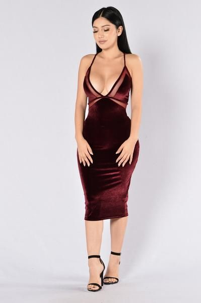 - Available in Burgundy - Velvet Midi Dress - Mesh Cut Out Detail - Spaghetti Straps - X Back - V Neckline - Made in USA - 90% Polyester 10% Spandex