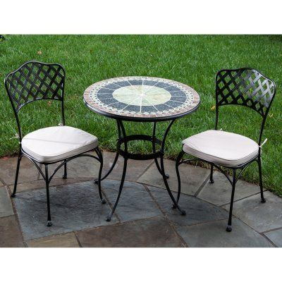 Great Alfresco Home Ponte Indoor Outdoor Round Mosaic Bistro Dining Set, 30 Inch  By Alfresco