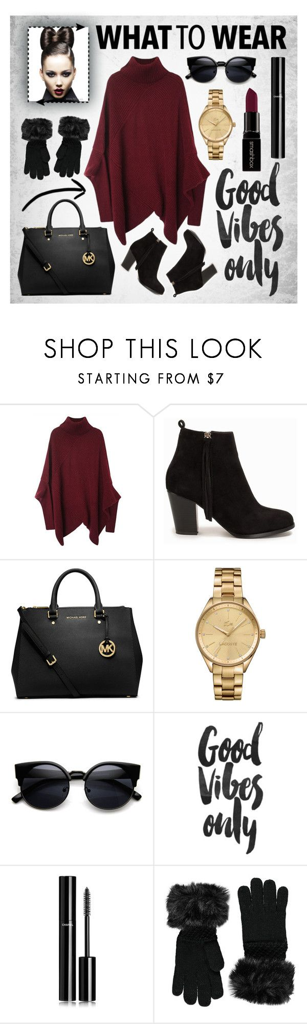 """""""What to Wear"""" by aurorabvik ❤ liked on Polyvore featuring Nly Shoes, Michael Kors, Smashbox, Lacoste, Chanel, Forever 21, michaelkors, booties and redlips"""