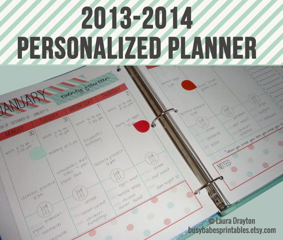 2013-2014 Personalized Planner - Monthly Calendars - Weekly Planner - Meal Planner - Notes - Printable - INSTANT DOWNLOAD on Etsy, $16.00