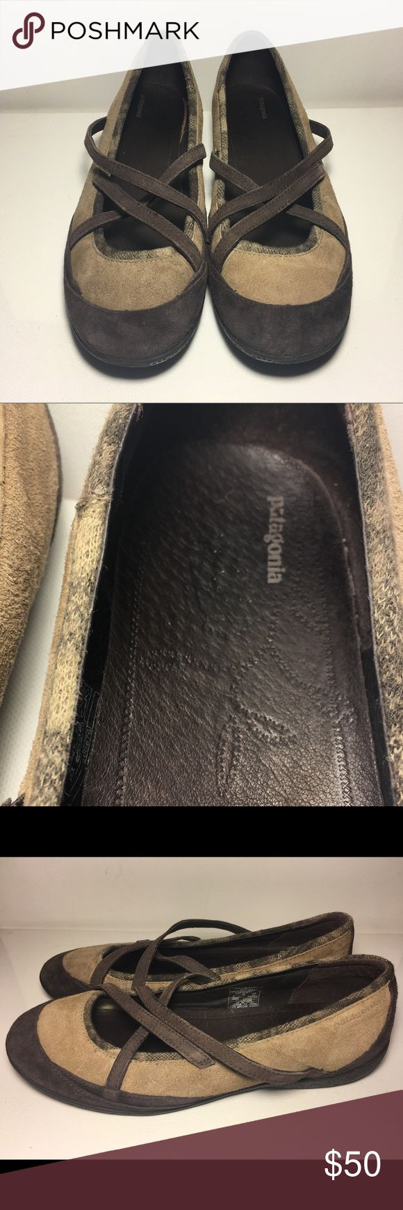 PATAGONIA Dove Silvery Peony Ballet Flats PATAGONIA Dove Silvery Peony Ballet Flats   Brown Suede Cross Strap Ballet Flats  Style Name: Dove Silvery Peony Size: 9 Suede Leather with Fabric Trim Brown and Light Brown 😁EUC 😁 Patagonia Shoes Sneakers