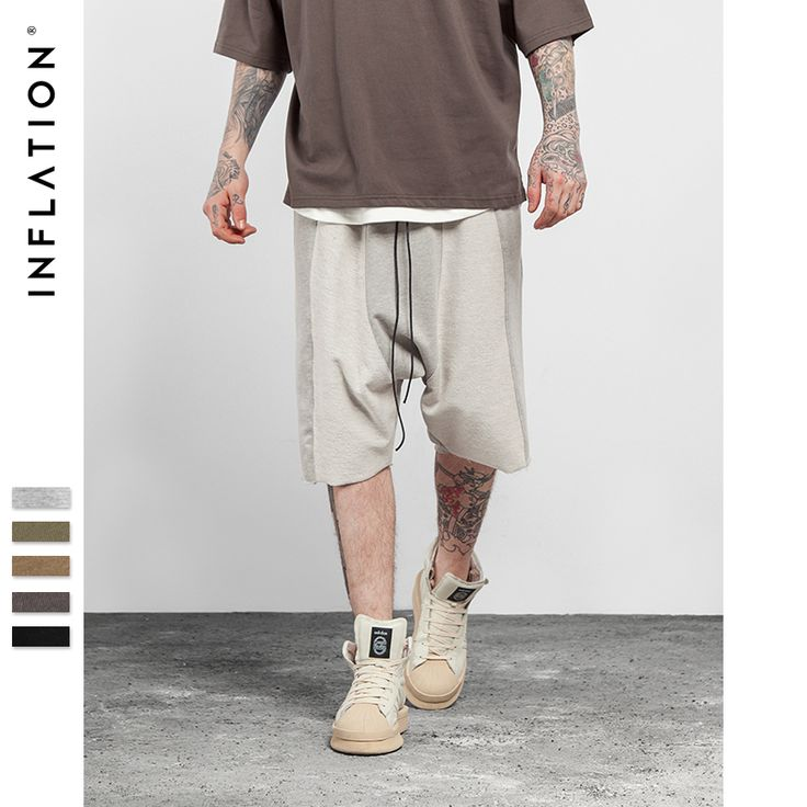 INFLATION 2017 SS Summer Collection Drop-crotch Hip Hop Joint Shorts High Street Fashion Shorts