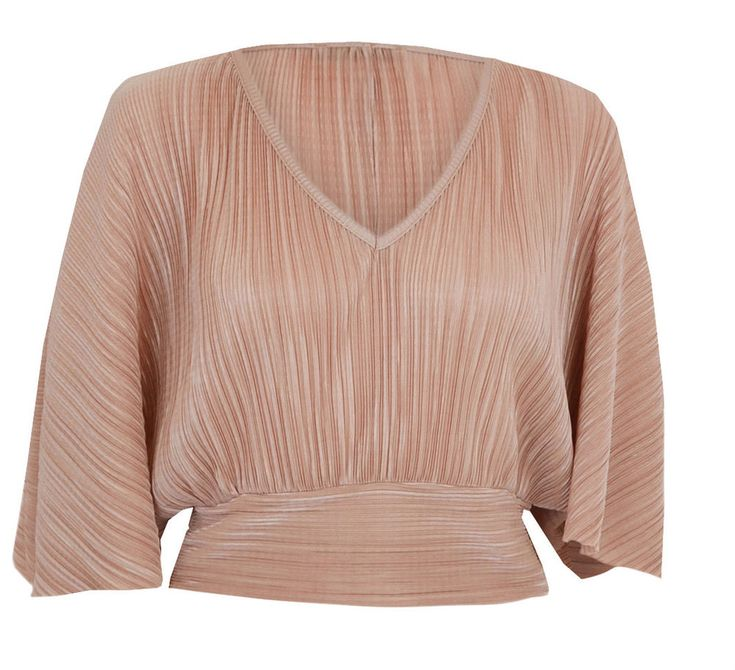 New Womens Ladies Pleated Tie Back Batwing Crop Top Pink Nude 6 8 10 12 14 in Clothes, Shoes & Accessories, Women's Clothing, Tops & Shirts | eBay