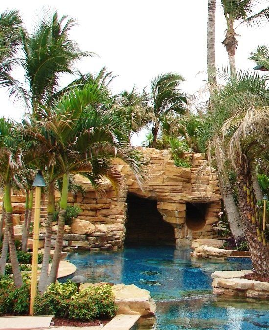 Rock outcropping with swim-in grotto...