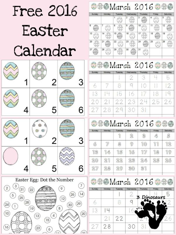 Free 2016 Easter Calendar Printable - 2 calendar card types one with a ABC Pattern, 6 single page calendar activities in a Easter Egg themes - 3Dinosaurs.com