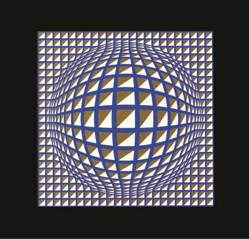 Terz, Oil by Victor Vasarely (1906-1997, Hungary)