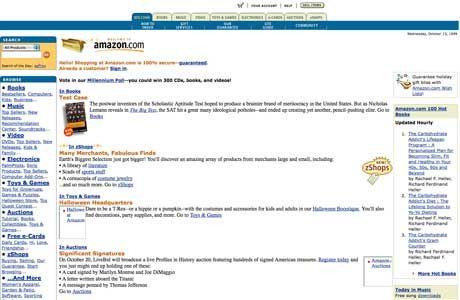 Le site d'Amazon, qui fit ses débuts en 1995. Plutôt attractif pour l'époque…  http://www.telegraph.co.uk/technology/internet/10663451/The-early-days-of-25-websites.html
